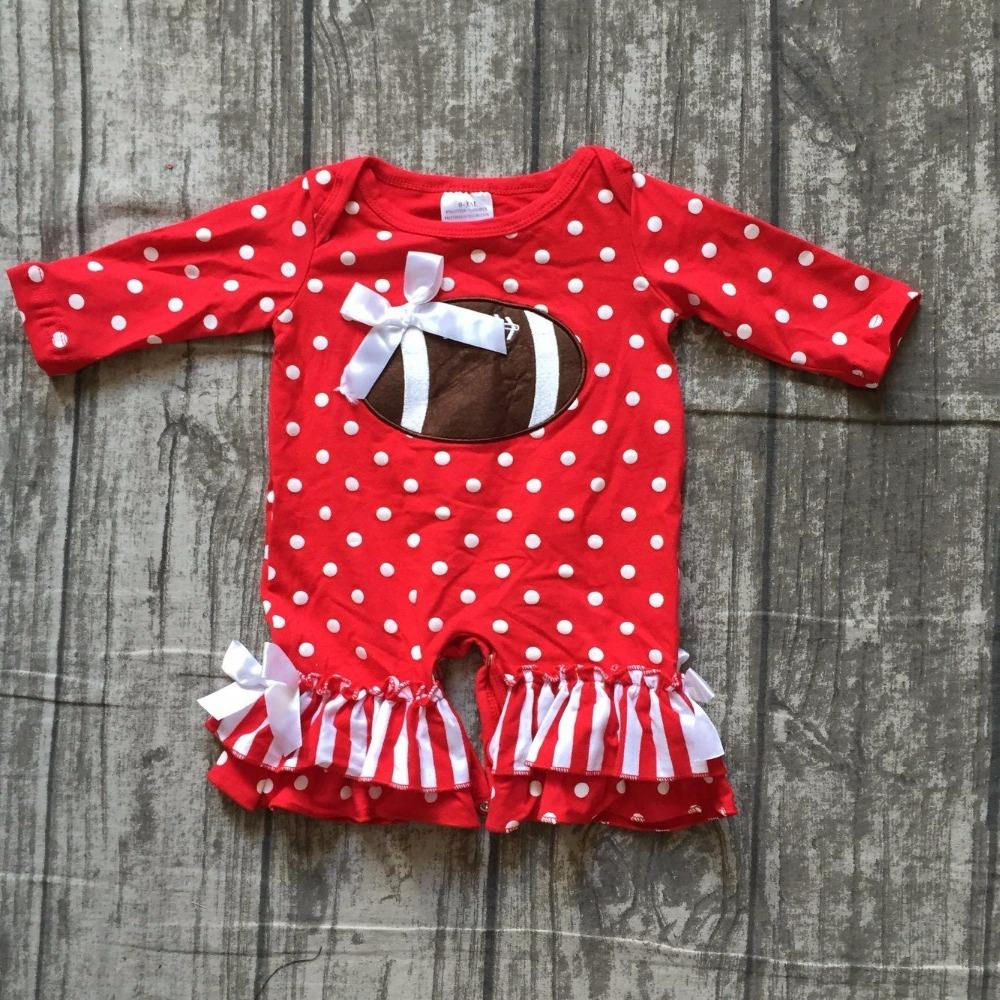 bcc2fd671 2019 Girls Football Jumpsuits Sets Infant Toddler Baby Girls Football Romper  Baby Infant Red White Polka Dot Romper Clothing From Entent, $102.09 |  DHgate.