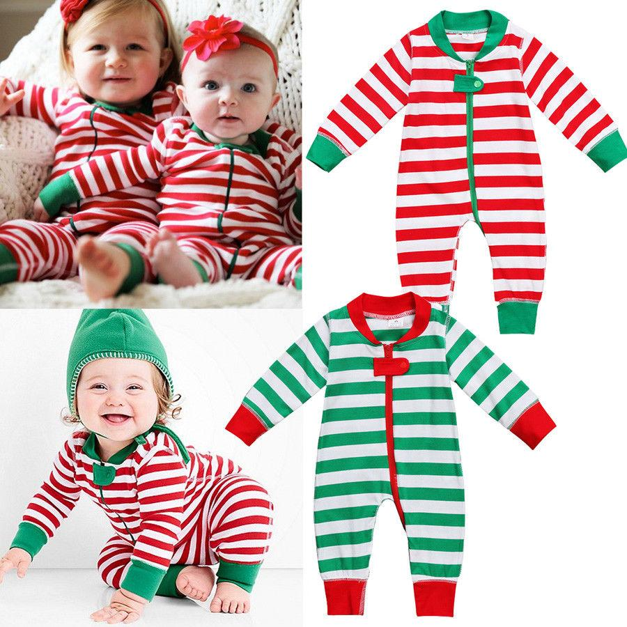 ab3b11a42c7 2019 2018 Christmas Baby Girl Clothes Romper Kids One Pieces Jumpsuits  Pajamas 0 18M Infant Kid Striped Clothes Baby Rompers Costumes From  Namenew