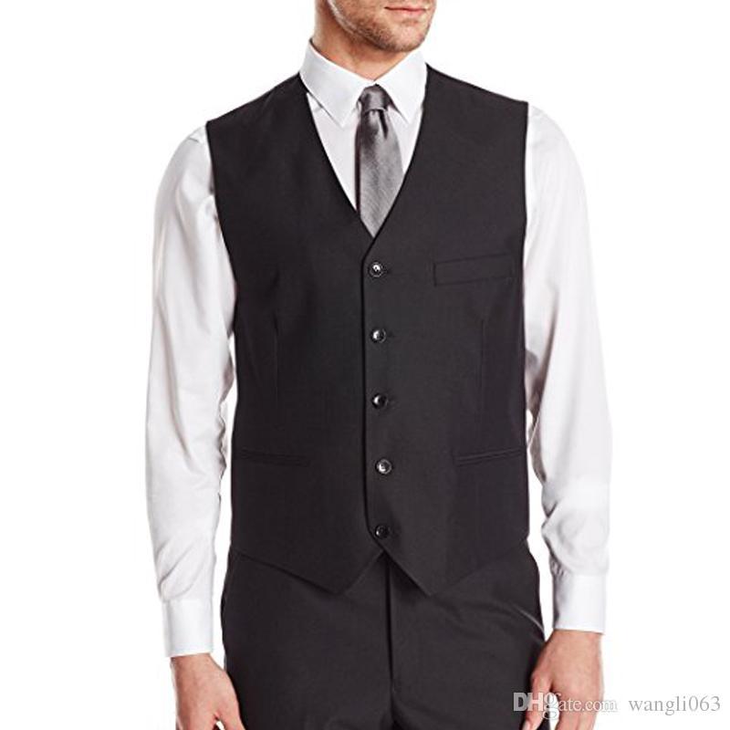 Vestito da uomo nero Gilet da uomo Casual senza maniche Groomsmen da uomo con collo a V Business Suit Foviva Style 121920