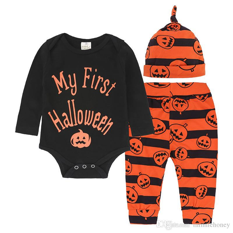 90288295f Baby Boy Girl Halloween Clothes All Saints' Day Clothing Sets Pumpkin  letter Romper+Pants+Cap 3Pcs Outfits Cosplay Clothes