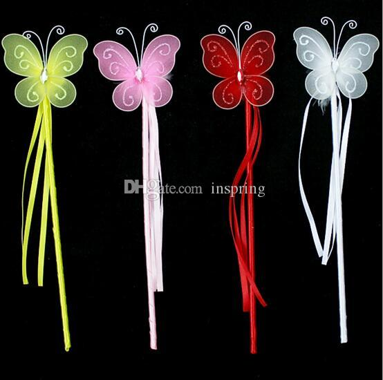 Yeni Renkler Prenses Kelebek Peri Değnek Sihirli Sopa Doğum Günü Partisi Favor Kız Hediye 4 Renk Beyaz Pembe Kırmızı Sarı