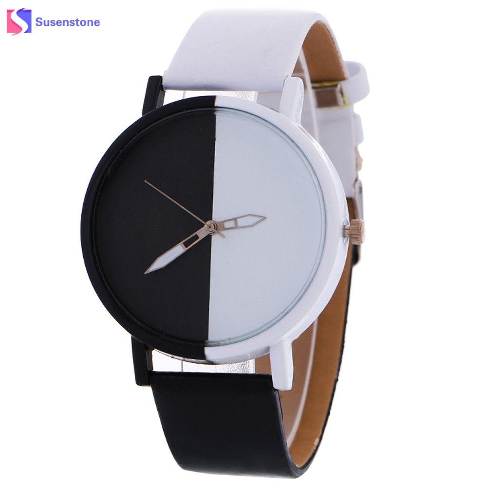 0e95b20b48c8 Compre Moda Blanco Y Negro Diseño De Las Mujeres Hombres Reloj Grande Dial  Aleación De Cuarzo Reloj De Pulsera De Cuero Pareja Amantes Relojes  Deportivos ...
