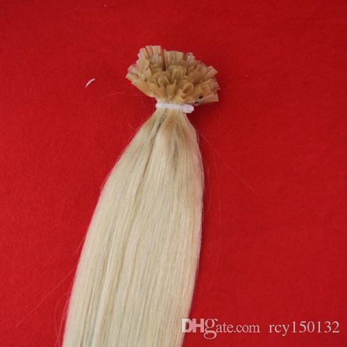 100g Remy Prego U TIP Extensão Do Cabelo Humano Platinum Blonde # 613 Europeu Fusão Pré Bonded Extensão Do Cabelo