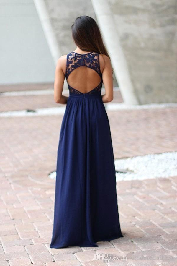 Country Royal Blue Brides Maid Bridesmaids Dresses 2018 Sheer Lace Sleeveless Backless Long Full Length Party Gown for Weddings BA7668