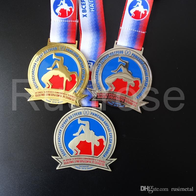 Wrestling Games medals custom metal commemorative badge, soft enamel  wrestling athletics medal