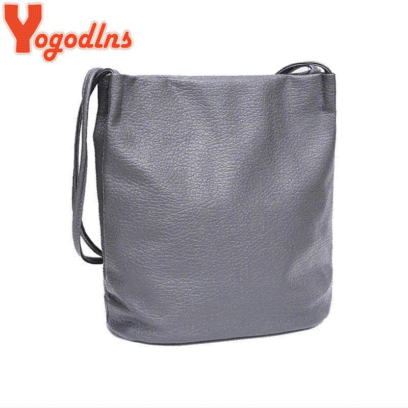 df163a45b9 Yogodlns Women Leather Handbags Black Bucket Shoulder Bags Ladies Cross  Body Bags Large Capacity Ladies Shopping Bag Bolsa Discount Designer  Handbags ...