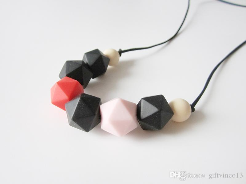 Collana dentizione di silicone perline da masticare alimenti bambini silicone icosaedro collane di perline masticare gioielli allattamento baby shower regalo