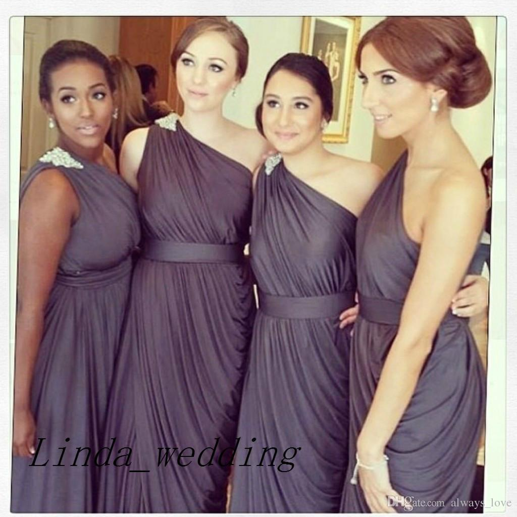 25eab10249b4c Dark Purple One Shoulder Bridesmaid Dresses - raveitsafe