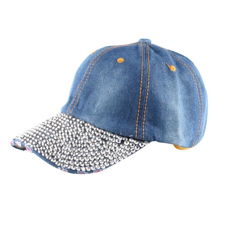 Womens Denim Baseball Cap Fashion Rhinestone Hip Hop Hats Women Adjustable  Snapback Hat Autumn Winter 7.4 Baby Cap Embroidered Hats From Cupwater cd5b6af464