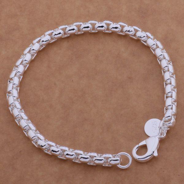 Nuevo estilo coreano de plata Retro Cross Box cadena pulsera 925 plateado pulsera envío gratis D0353
