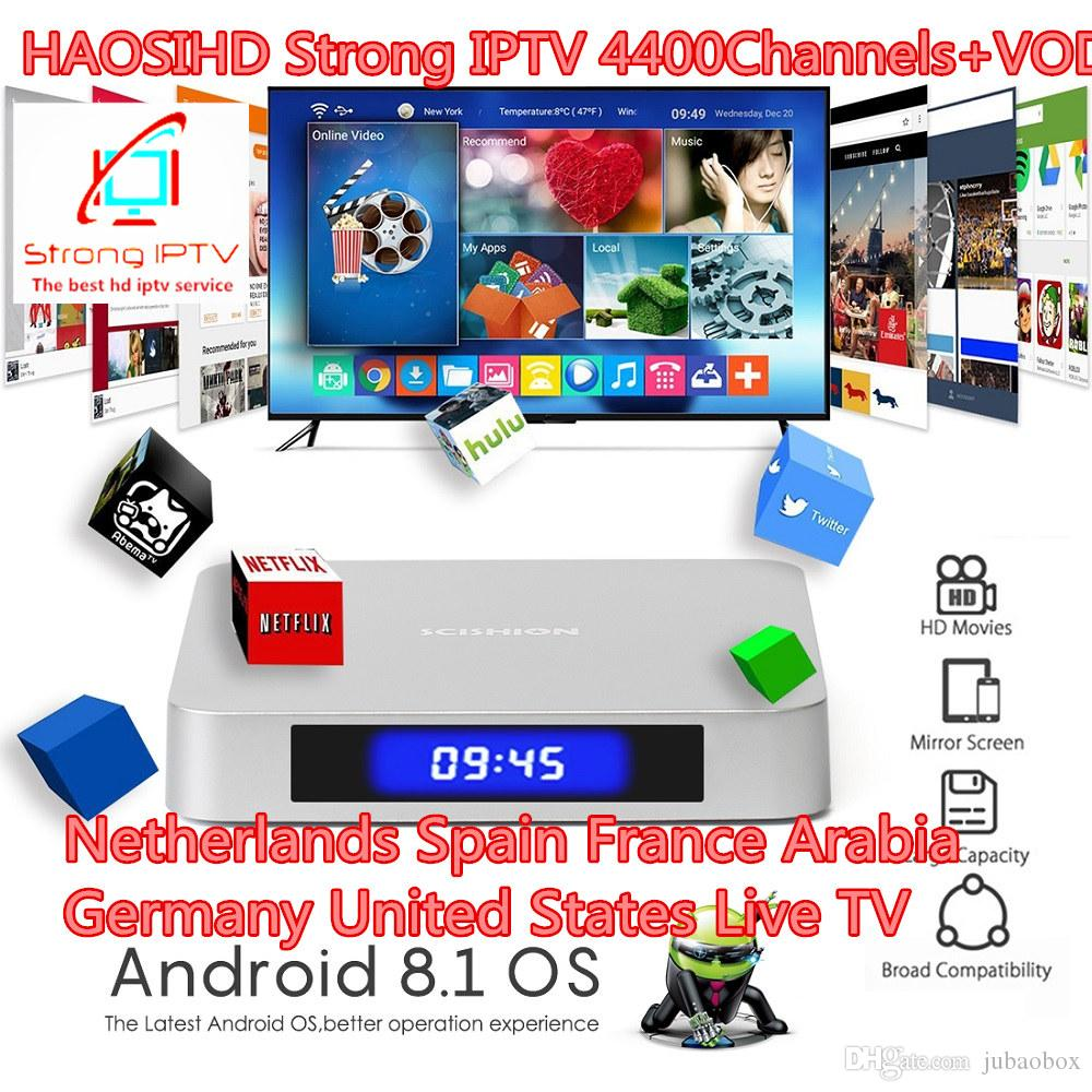 SCISHION AI ONE Voice Control Android 8 1 Smart IP TV Box with 1 Year  Strong iptv Code Subscription Europe usa Channels French