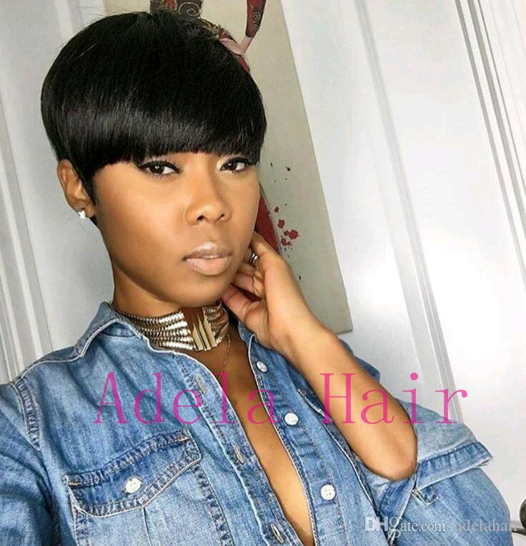 Pixie Cut Human Short Hair Wigs African American Glueless Short Hair