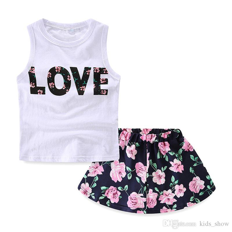 cute 2-10Y Girls summer baby skirt top love Letters Printed Sleeveless T-Shirt Vest Tops +Floral Skirt Dress Baby Girls clothing set