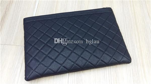 2ba82a018a3 Fashion Brand Clutches Genuine Leather Evening Bag Quilted ZIP POUCH Caviar Leather  Envelope Bag Cosmetic LeBoy BAGS Large Handbags Black Leather Handbags ...