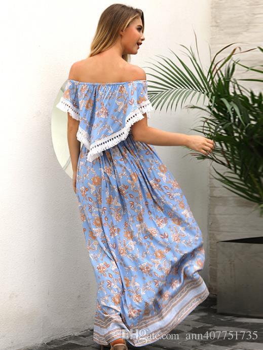 9d4025bb22 2018 Summer seaside resort beach dress, lady's print dress, Bohemia dress  printing High waist and thin