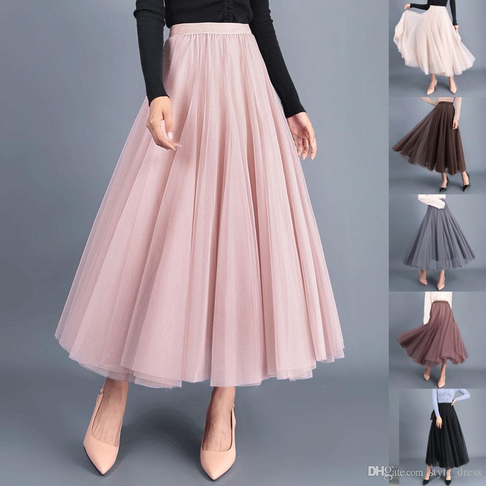 f797e59675af85 Femmes Longue Tulle Jupe En Maille Elastique Taille Haute Streetwear  Plissée Tutu Une Ligne Maxi Jupe