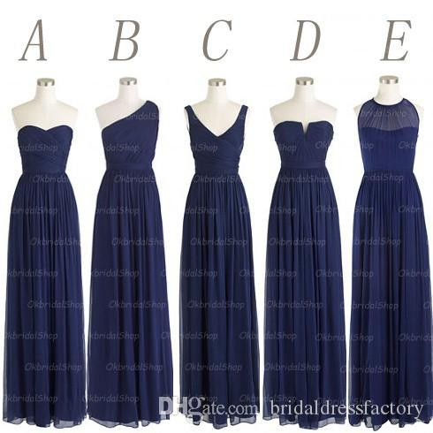 navy blue long chiffon mismatched bridesmaid dresses, simple cheap custom bridesmaid dresses, BD15167