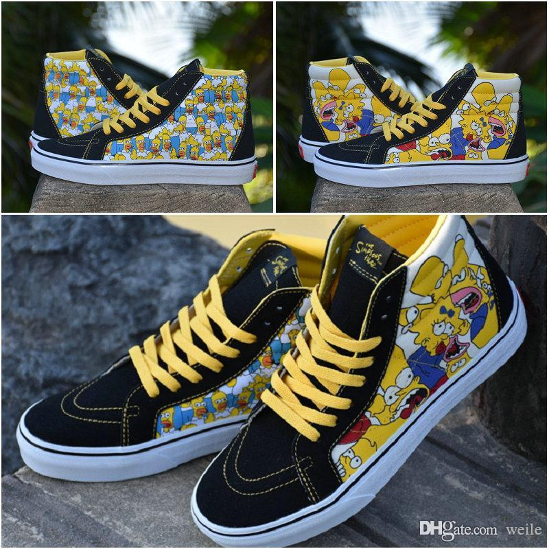 308532e41784c0 2019 2018 New Cartoon Simpson Family Old Skool Sk8 Hi Mens Women Casual Skateboard  Designer Shoes Canvas Sport Skate Sneakers Size 36 44 From Weile