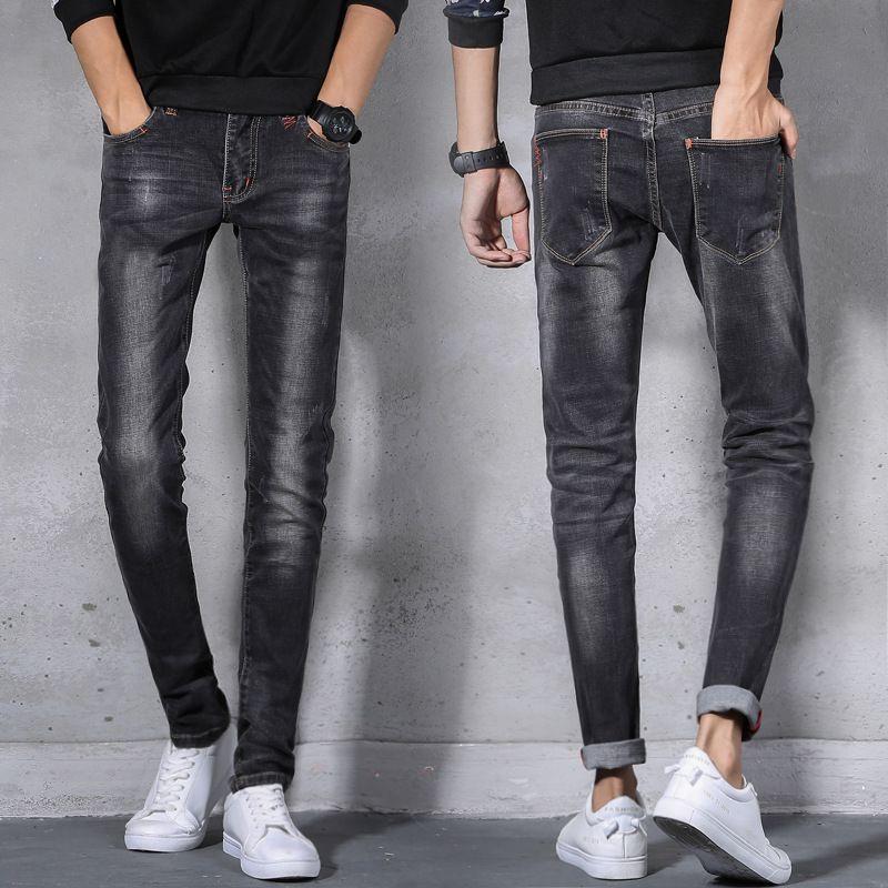 d4263ebe9 Pantalones vaqueros al por mayor de los hombres 2018 Pantalones elásticos  de la pierna pequeña Ajuste delgado Moda otoño invierno jeans masculino