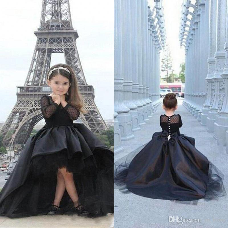 0dca63d49a597 High Low Black Girls Pageant Dress Long Sleeve Puffy Tulle Short Front Long  Back 2019 Toddler Party Evening Gown Kids Prom Dresses