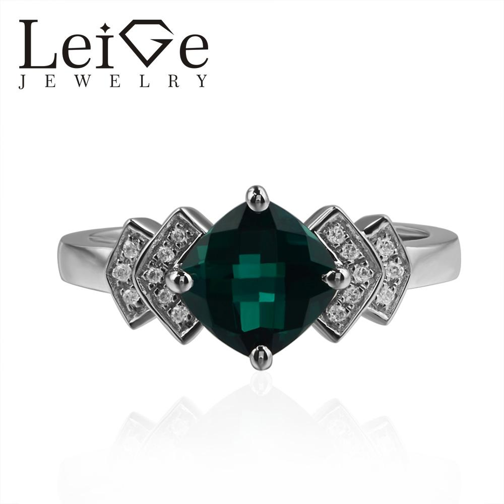 Leige Jewelry Lab Emerald Rings Cushion Cut Green Gemstone Engagement Rings For Woman 925 Sterling Silver May Birthstone