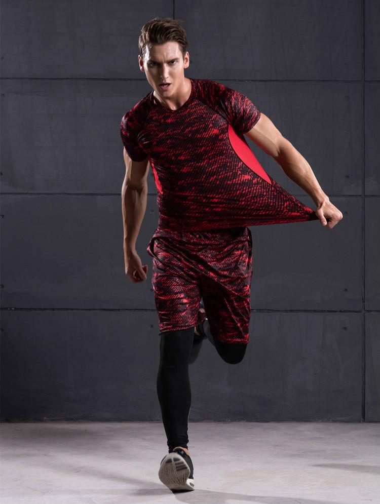 760dbdf6 Men's sports fashion compression fitness training suit running jogging  tights T-shirt printing quick-drying breathable three-piece