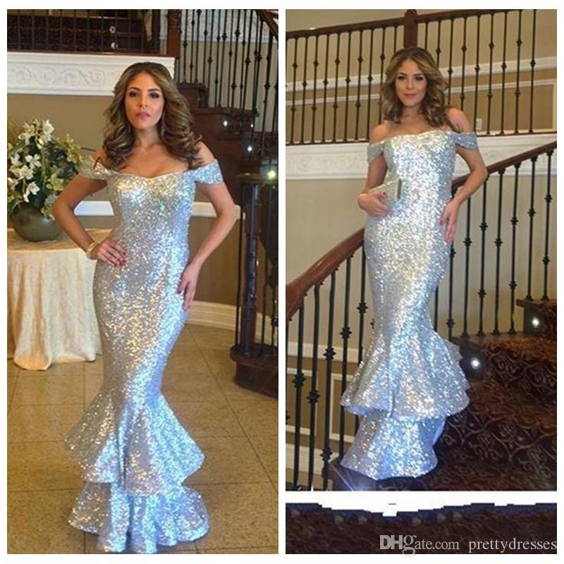 Off Shoulder Sequins 2018 Mermaid Prom Dresses Slim Zipper Ruffles Cascading Silver Sequined Party Gowns Prom Wear Vestidos De Soiree
