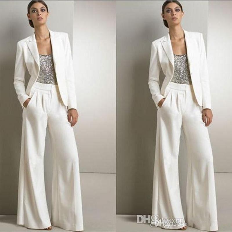 Neuer Designer 2018 Weiß Drei Stücke Mutter der Braut Hose-Klagen für Silber Sequined Hochzeitsgast Kleid Plus Size Kleider mit Jacken