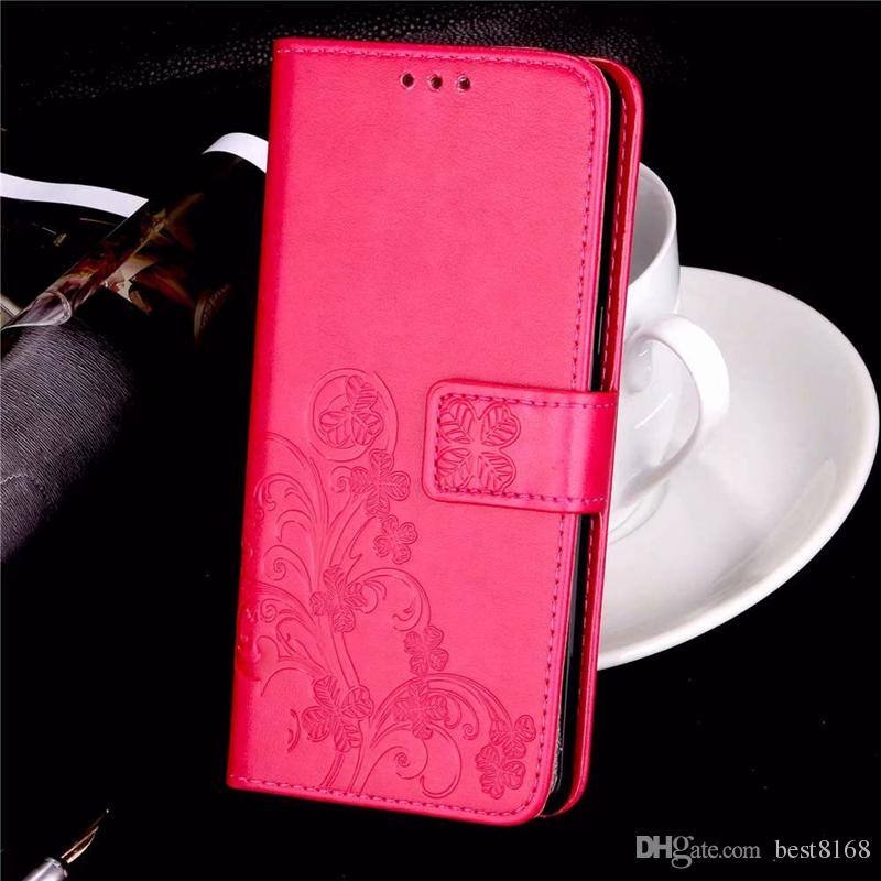 Lucky Clover Case For HTC 12 Plus Galaxy J6 J4 A62018 For Nokia 7 Plus For LG G7 Imprint Wallet Leather Flower Card ID Slot Cover Pouch