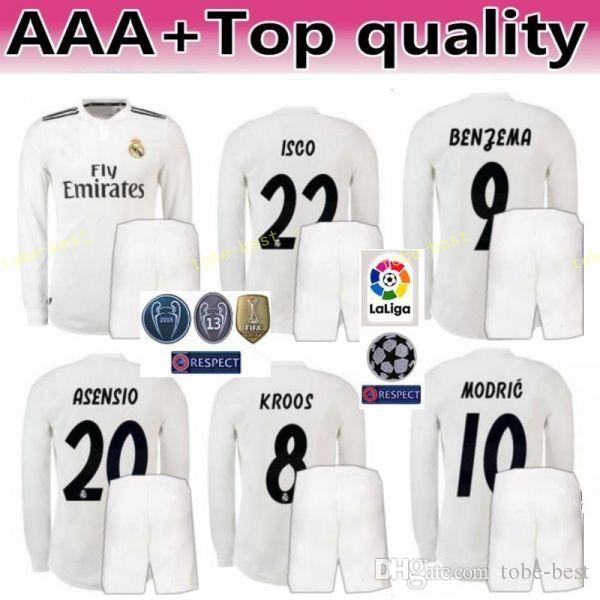 2018 2019 Liga De Fútbol De Manga Larga Real Madrid ASENSIO Conjunto De  Camisetas De Hombre RAMOS MODRIC ISCO BENZEMA KROOS MARCELO Camiseta De  Fútbol De ... 5770afbb60090