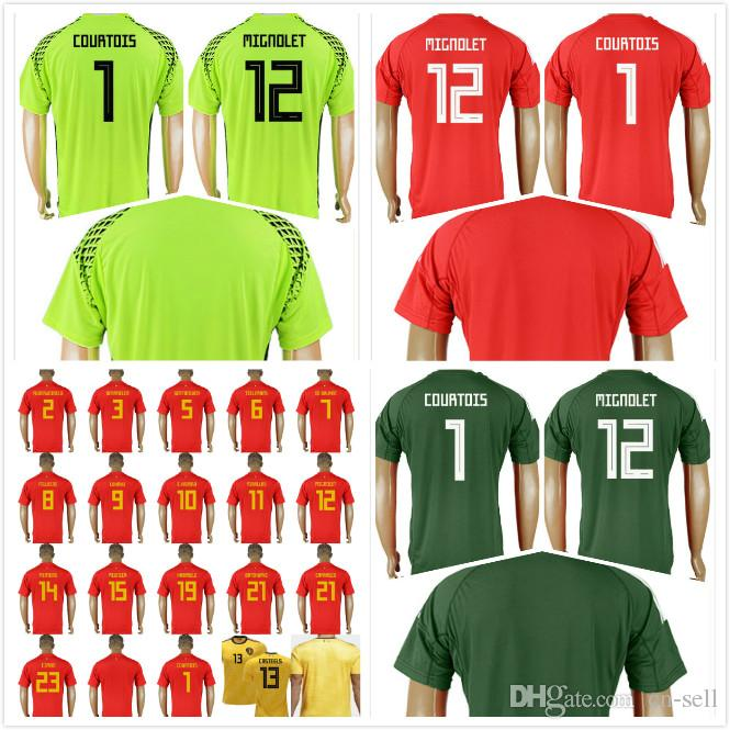 pretty nice e5b3a ca087 2018 World Cup Belgium Soccer Jersey Goalkeeper 10 E.HAZARD DE BRUYNE 4  KOMPANY 9 LUKAKU WITSEL 8 FELLAINI Custom Name Football Shirt