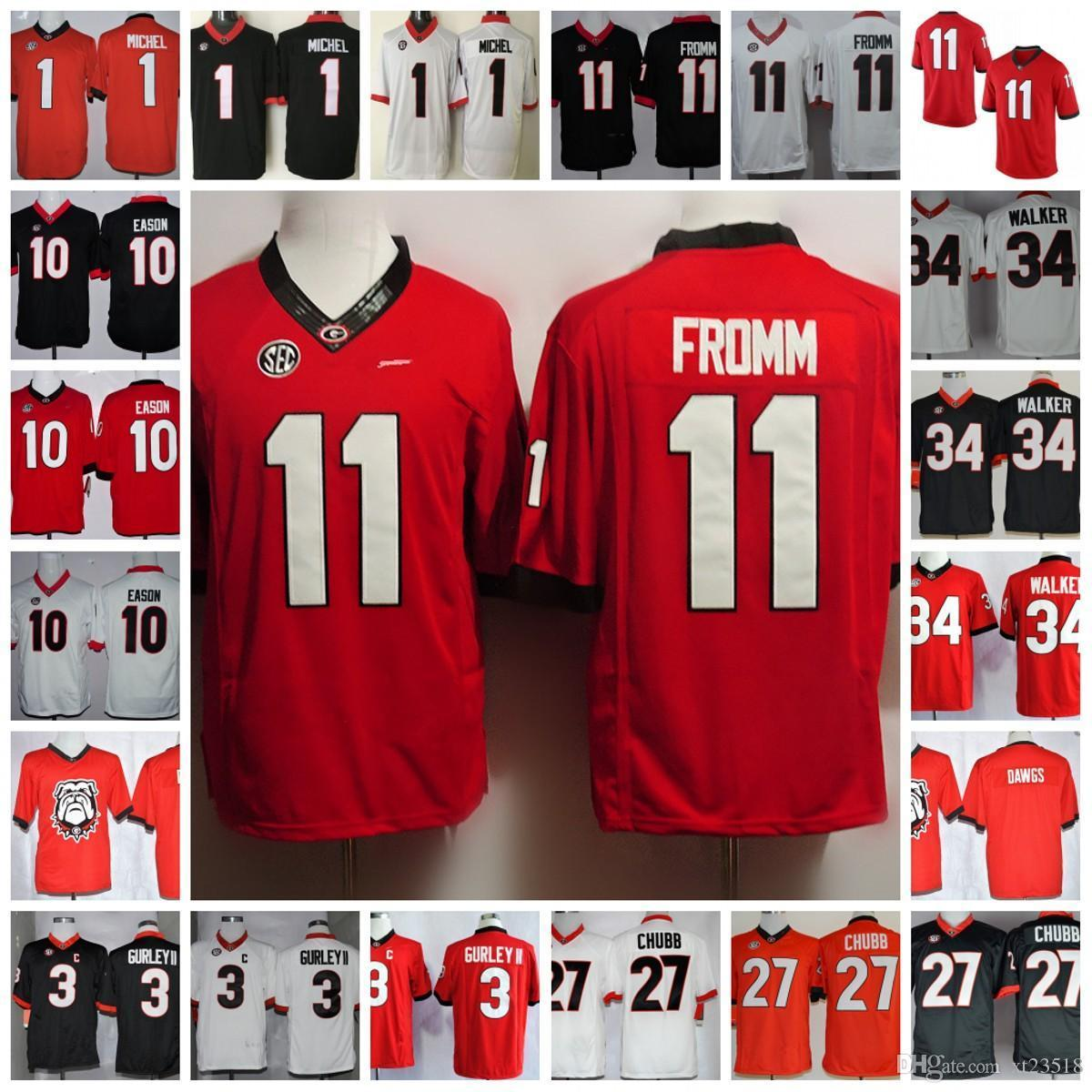 detailed look 9f4a6 a10d4 Georgia Bulldogs Jake Fromm College Football Jerseys Todd Gurley Nick Chubb  Herchel Walker Sony Michel Jacob Eason NCAA SEC Georgia Bulldogs