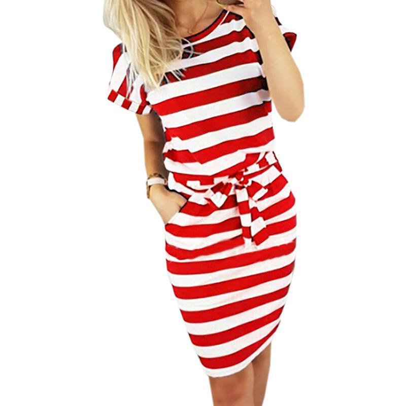 ebcd9e473d8 Acheter Casual Poche Manches Courtes Été Mini Robe Dame Élégante Partie  Ceintures Robes Nouveau Femmes O Cou Rayé Robe D été Plus La Taille Gv560  De  29.95 ...