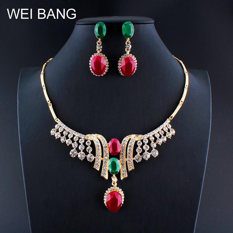 weibang Turkish women vintage jewelry set necklace earrings gold color resin clothing accessories gift dropshipping