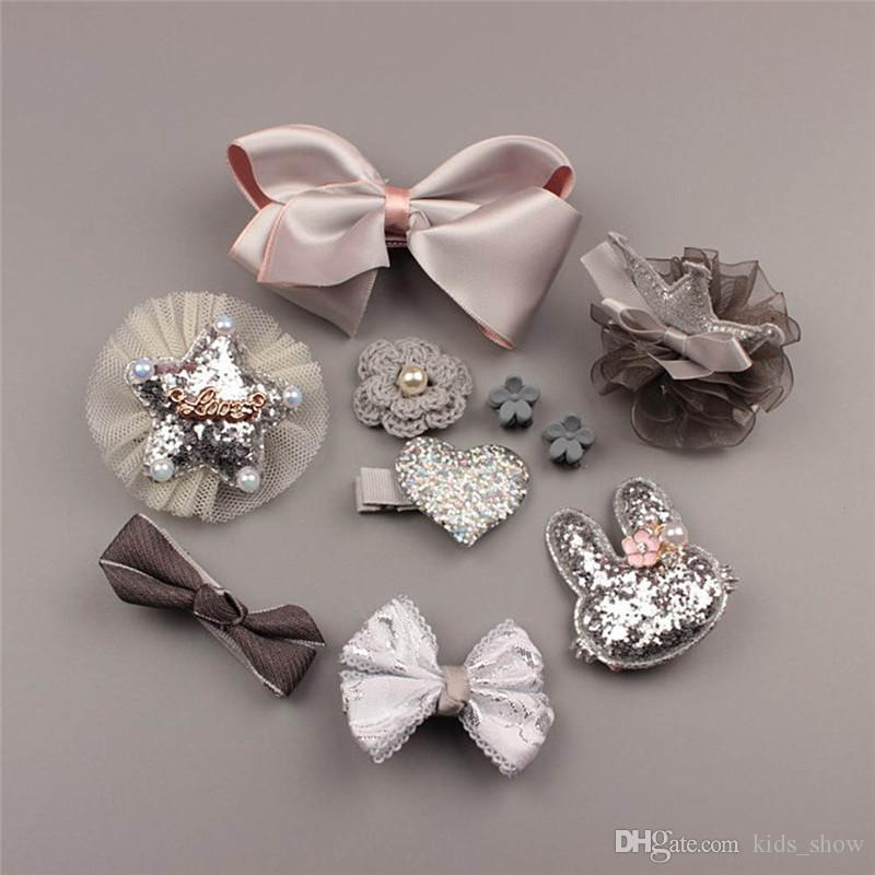 Bowknot Headwear Set Baby Girls Pinzas de pelo conjuntos Princesa Crown Tocado Moda Niños Niños Accesorios para el cabello