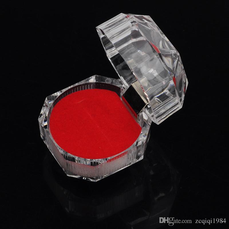 3 ألوان مجوهرات حزمة مربعات حلقة حامل القرط عرض مربع أكريليك شفاف الزفاف التغليف تخزين مربع عصابة