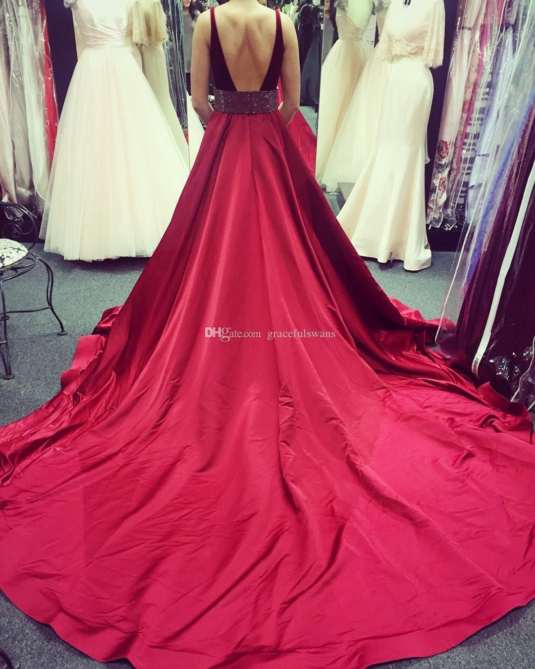 Burgundy Velvet A-Line Formal Evening Dresses Deep V Front Sexy Evening Gowns Tank Dark Red Satin Party Dresses with Beaded Backless