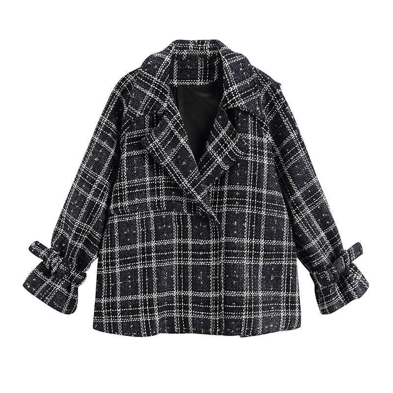 cd736c5aa8 2018 New Autumn Winter Lapel Long Sleeve Blue Loose Plaid Printed Big Size  Loose Woolen Coat Women Jacket Fashion A61 Denim Jacket With Fur Vintage  Leather ...
