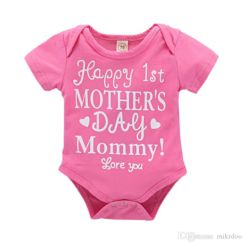 746604255dbc 2019 Mikrdoo 0 24M Newborn Infnat Baby Pink Short Sleeve Letter Print Romper  Clothes Toddler Cotton Sweet Bodysuit Playsuit From Mikrdoo