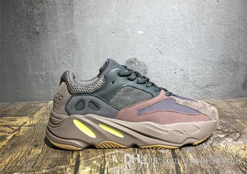 newest 72012 40ac5 700 Mauve Wave Runner 700 Kanye West real basf bottom running shoes 3M  Reflector trainer Sneakers with box free shipping wholesale