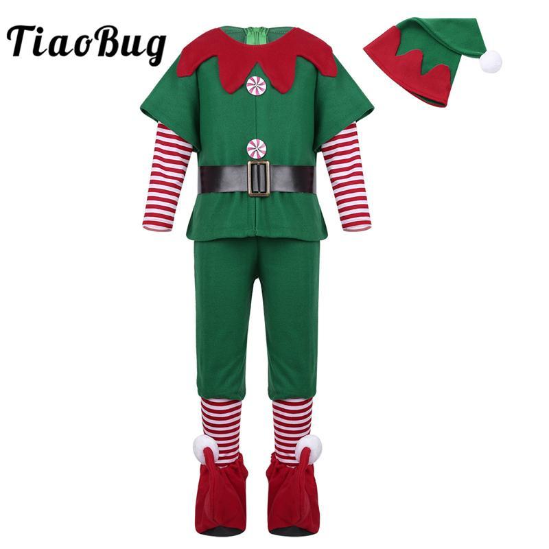 ab3516c150e3c Acheter TiaoBug Enfants Adolescents À Manches Longues De Noël Costume Tops  Shorts Ensemble Fantaisie Parti Cosplay Dress Up Enfants Garçons Vert  Costume ...