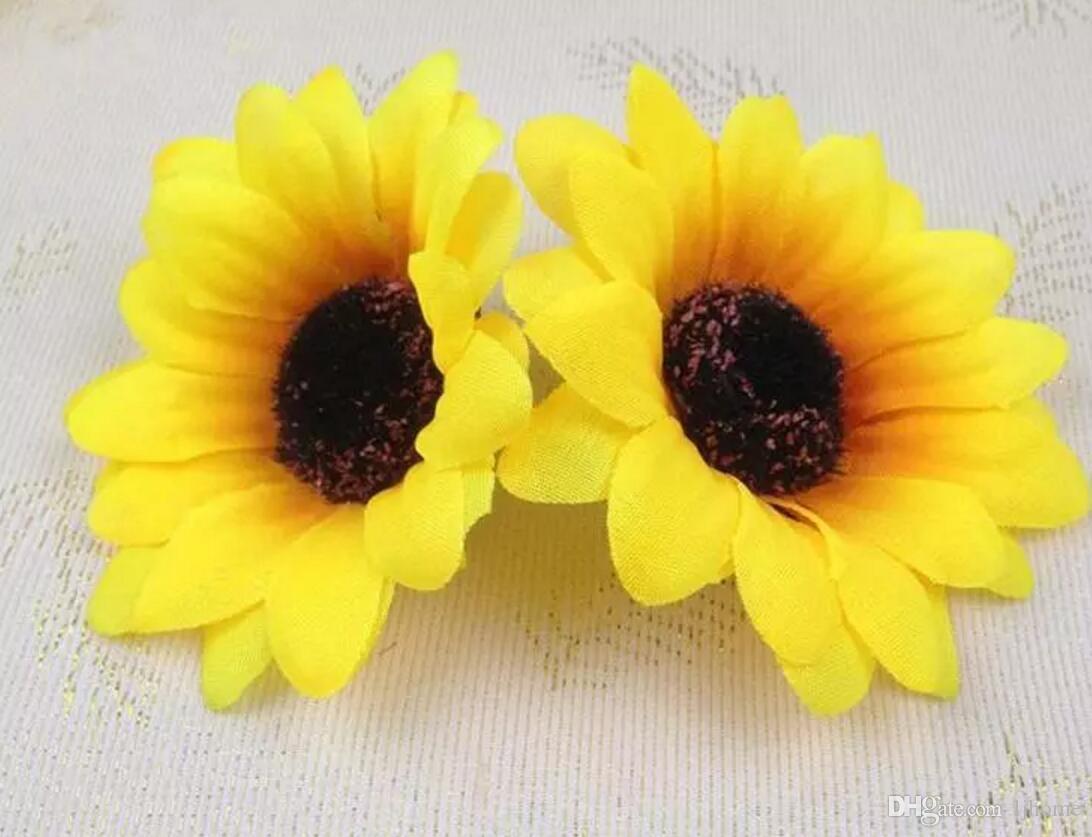 100 stücke 7 CM Sonnenblume Knospen Künstliche Seide Blume Köpfe Für Hochzeit Home Brautstrauß Dekoration 2018 Neue Stil
