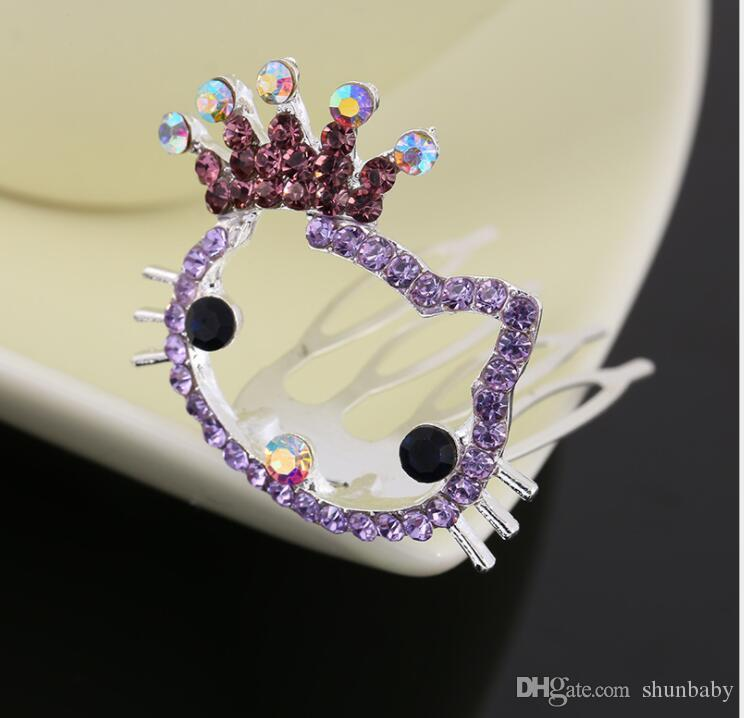 Baby Girls Hairpin Kitty Cat Rhinestone Hair Clip Colorful Crystal Crown Cat Hair Comb pin Children Hair Accessories