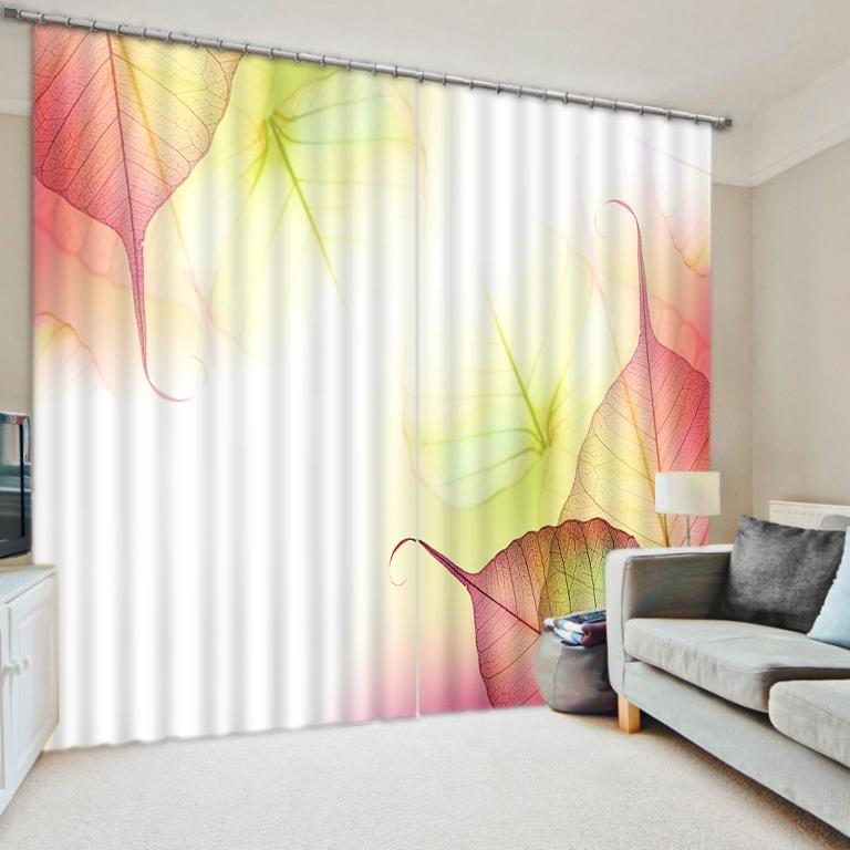 Custom Curtains Living Room Bedroom Window Curtain maple leaf Decoration  Drapes Beautiful Shade Ready Made Curtains