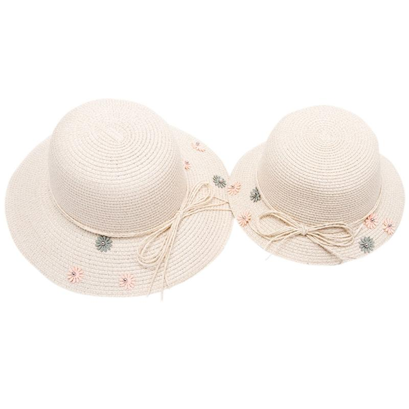 KSummer Straw Sun Hat Flower Cute Bow Beach Cap Parent-Child Girls ... 6d64ff01a