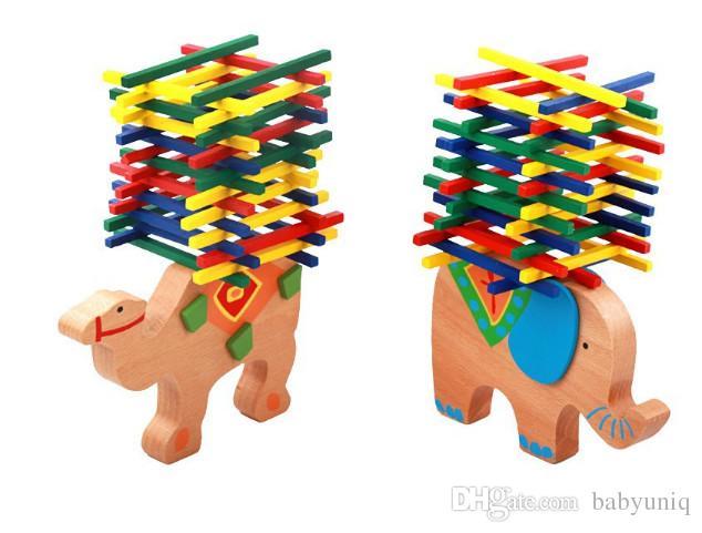 Cheap Educational Toys : Elephant balance blocks wooden toys beech wood balance game blocks