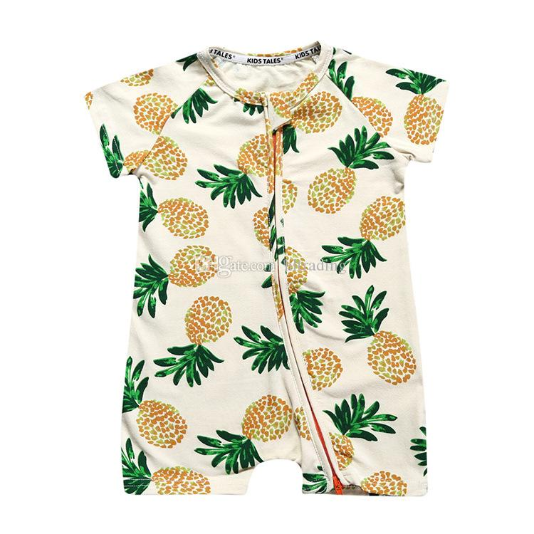 Bebek erkek kız Ananas Çiçek meyve Romper INS Yenidoğan giysileri C4317 Tırmanma çiçek çizgili Fermuar Dinozor Tulumlar yaz çocukları bırakır