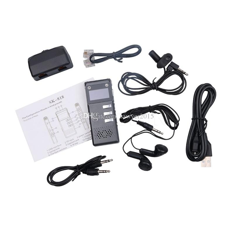 Multi-functional Rechargeable mini voice recorder 8GB Digital Audio Voice Recorder Dictaphone telephone recording with MP3 music Player