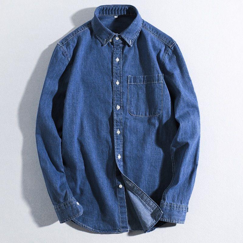wholesale dealer 13329 fe6fd Camicie di jeans di qualità degli uomini Primavera morbida sottile in  cotone casual jeans manica lunga camicia uomo moda Vintag Jeans Top Camicie  ...