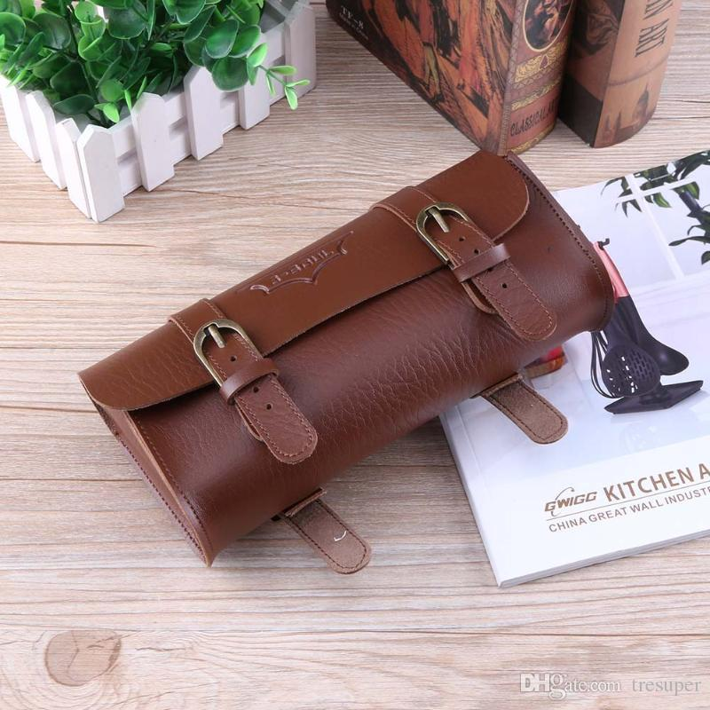Bicycle Tail Bag PU Leather Cycling Bag Saddle Pouch Tail Pannier Personalized Riding Vintage Bicycle Bike Bag 180g
